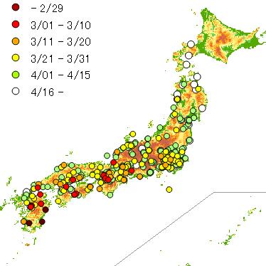 2015年のツバメ軒先初認マップ