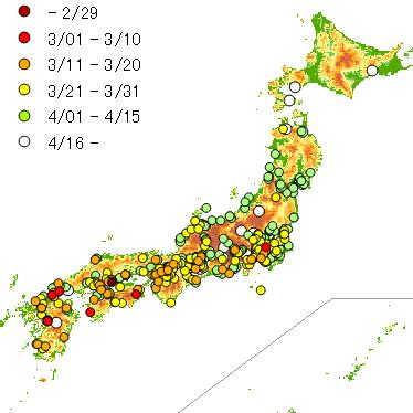2017年のツバメ軒先初認マップ